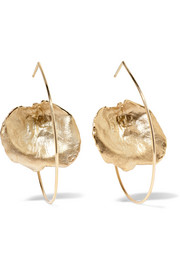 Floating Leaf 9-karat gold earrings