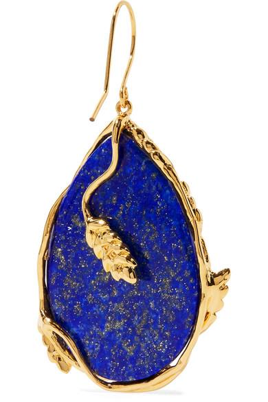 Françoise gold-plated lapis lazuli earrings