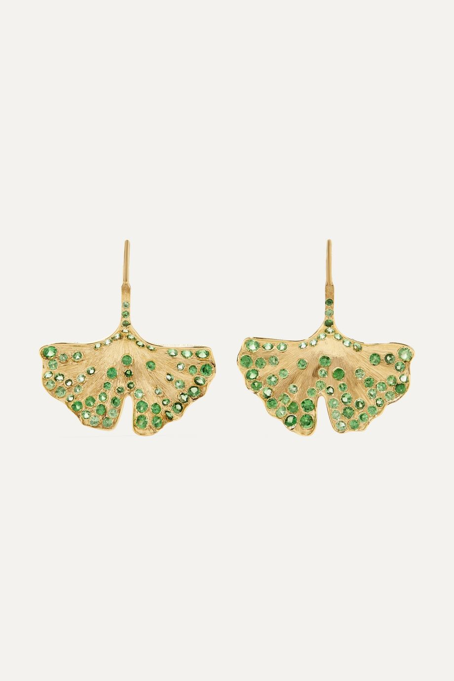 Aurélie Bidermann Ginkgo 18-karat gold tsavorite earrings