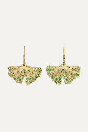 Ginkgo 18-karat gold tsavorite earrings