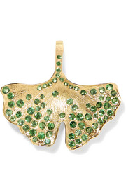 Ginkgo 18-karat gold tsavorite necklace