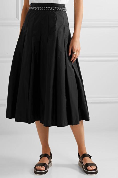 + 6 Noir Kei Ninomiya pleated chain-embellished shell midi skirt