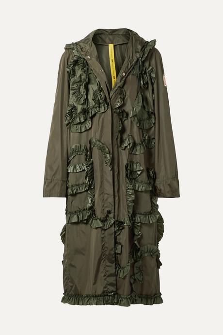 Army green + 4 Simone Rocha hooded ruffled shell jacket | Moncler Genius kWoWUz