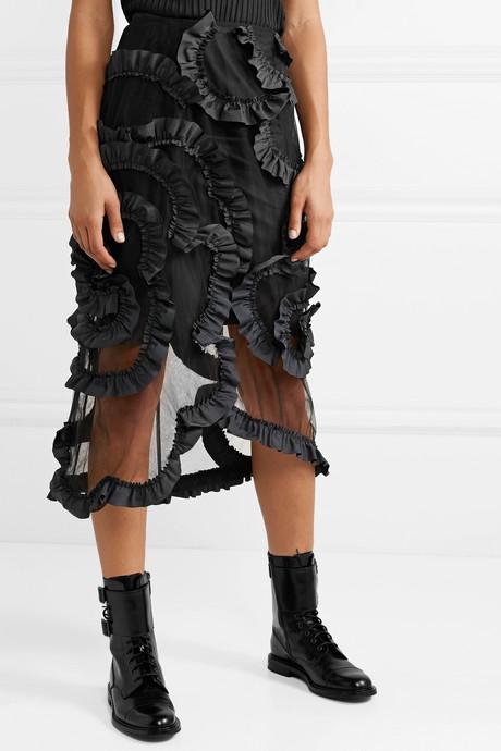+ 4 Simone Rocha ruffled shell-trimmed tulle midi skirt