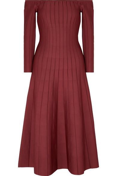CASASOLA Off-The-Shoulder Ribbed Stretch-Knit Dress in Burgundy