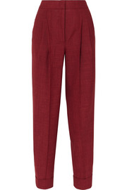 Pleated wool, silk and linen-blend tapered pants