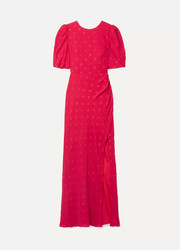 Annie shirred devoré silk-crepe maxi dress
