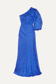 Lily one-shoulder silk-jacquard gown
