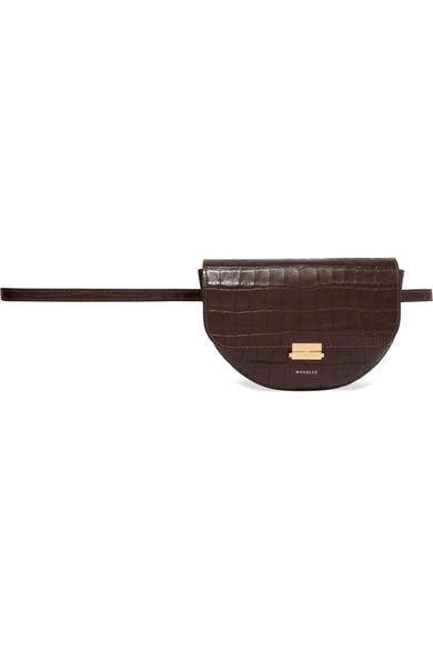 Anna Croc-Effect Leather Belt Bag in Dark Brown