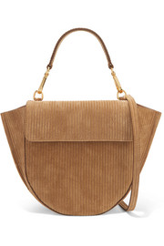 Hortensia mini suede-corduroy shoulder bag