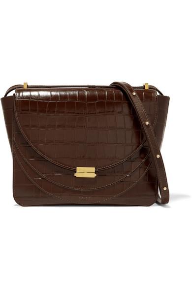 Luna Croc-Effect Leather Shoulder Bag in Dark Brown