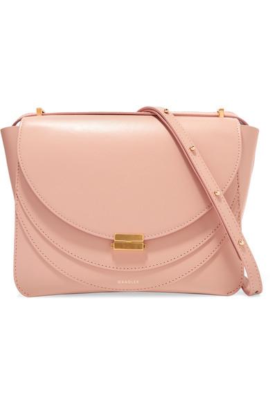 Luna Leather Shoulder Bag in Pink