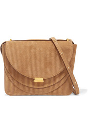 Luna suede-corduroy shoulder bag