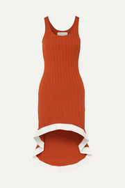 Asymmetric ribbed-knit dress