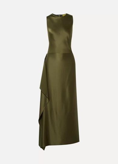 ALBUS LUMEN Hermosa Convertible Silk-Satin Gown in Army Green