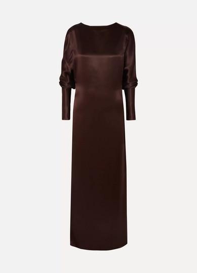 Alma Silk-Satin Maxi Dress in Brown
