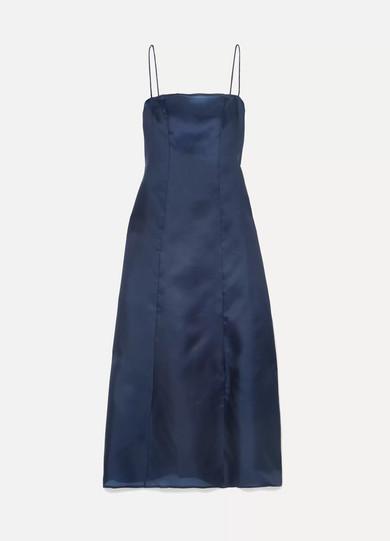 ALBUS LUMEN Noche Silk-Organza Maxi Dress in Navy