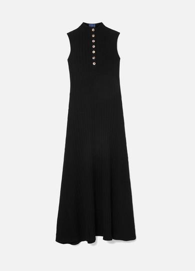 ALBUS LUMEN Rida Ribbed Cotton-Blend Jersey Maxi Dress in Black