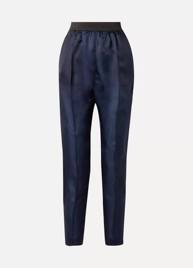 ALBUS LUMEN Lujo Silk-Twill Straight-Leg Pants in Navy