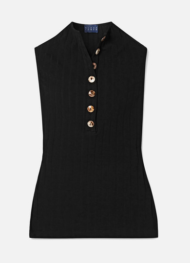 ALBUS LUMEN Rida Ribbed Stretch Cotton-Blend Jersey Top in Black