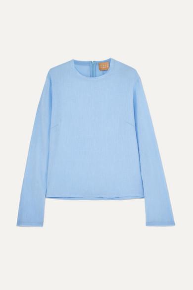 ALBUS LUMEN Chico Cotton-Crepon Top in Blue