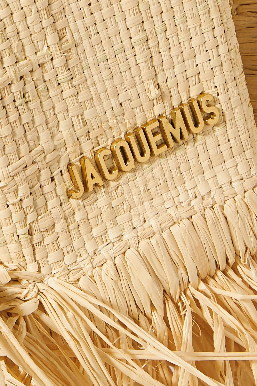 Jacquemus Le Petite Baci small leather-trimmed fringed raffia tote