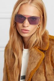 Puzzle large aviator-style gold-tone sunglasses