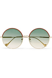 Sharon round-frame gold-tone and leather sunglasses