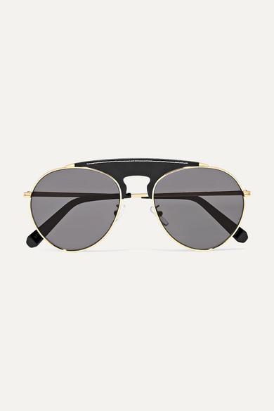 b17452d6fd Sasha Aviator-style Gold-tone And Leather Sunglasses. Filipa Oversized D- frame Tortoiseshell Acetate Sunglasses