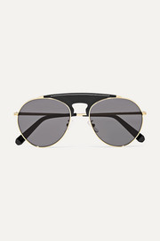 Sasha aviator-style gold-tone and leather sunglasses