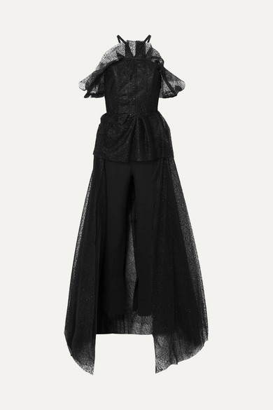Roland Mouret KENDRAY COLD-SHOULDER CREPE AND FLOCKED TULLE JUMPSUIT