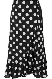 RIXO Gracie ruffled polka-dot cotton and silk-blend poplin wrap midi skirt