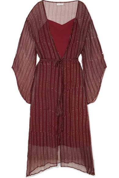 CLOE CASSANDRO Fifi Belted Silk-Crepon Dress in Claret