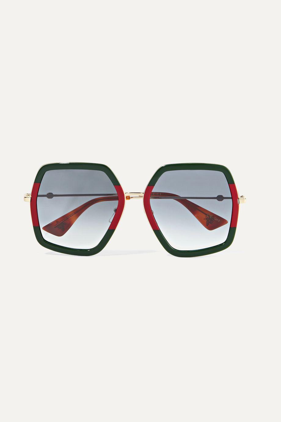 Gucci Oversized square-frame metal sunglasses