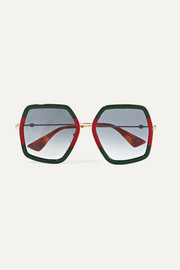 Gucci Oversized square-frame metal sunglasses