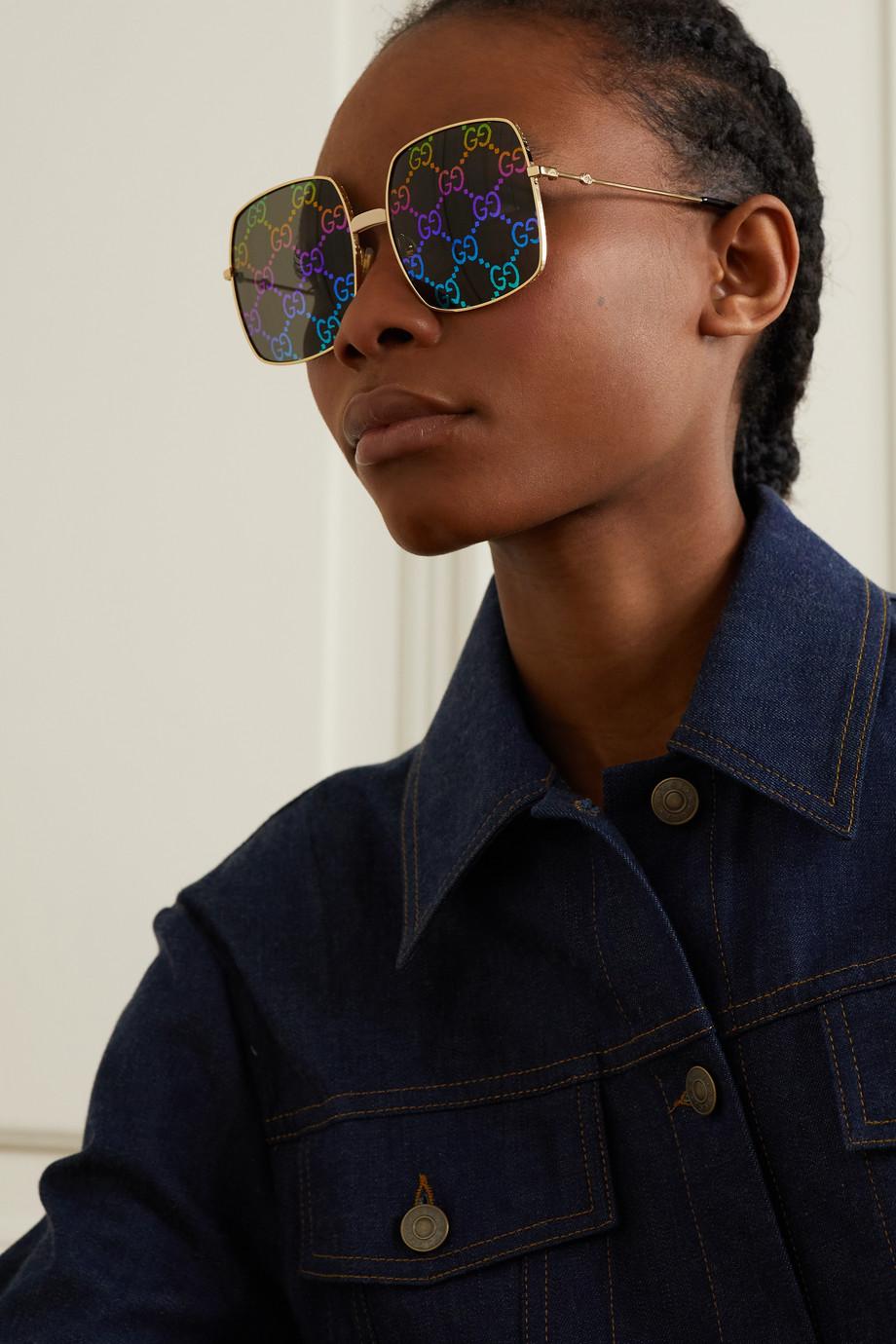 Gucci Logomania square-frame gold-tone sunglasses