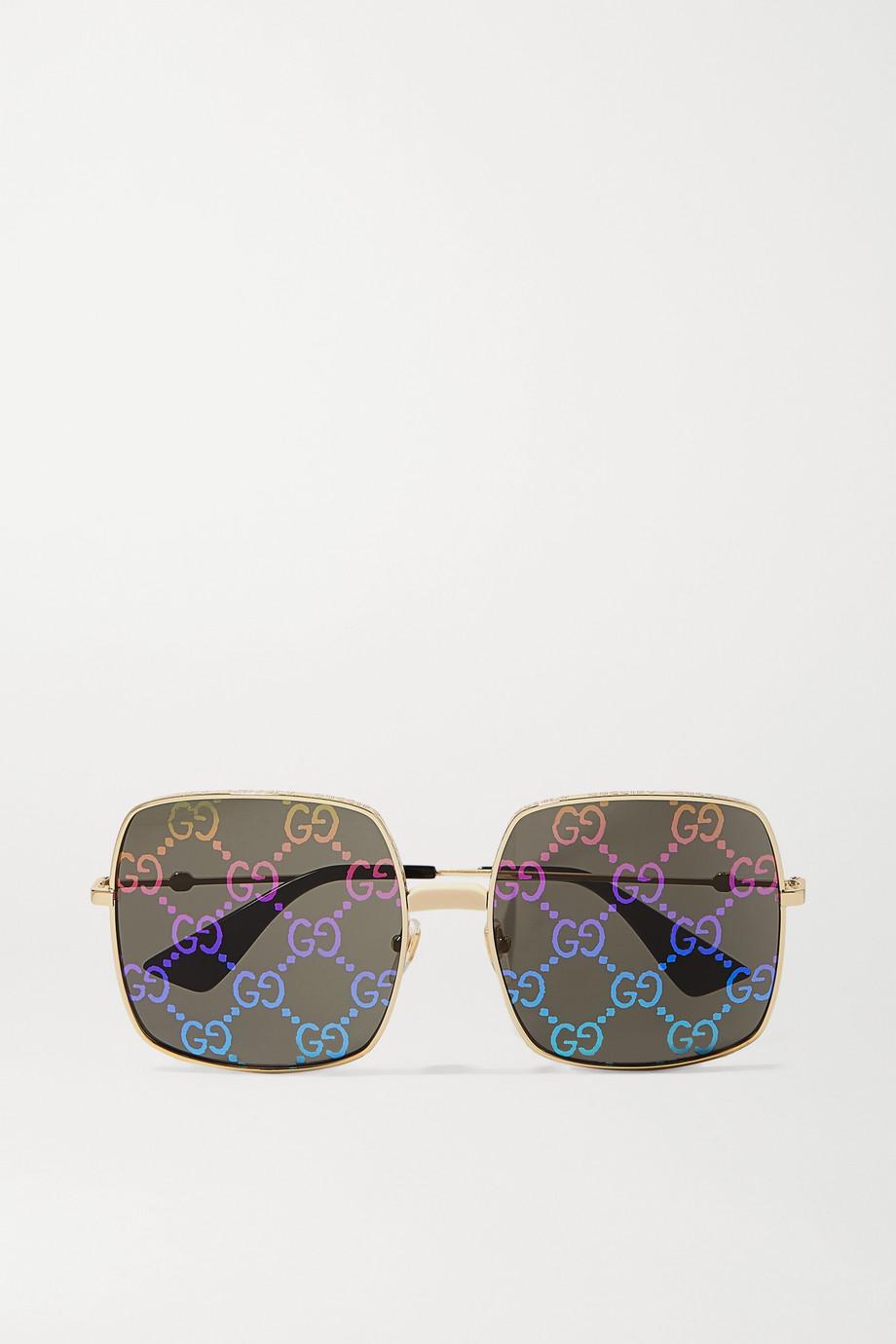 Gucci Logomania 金色金属方框太阳镜