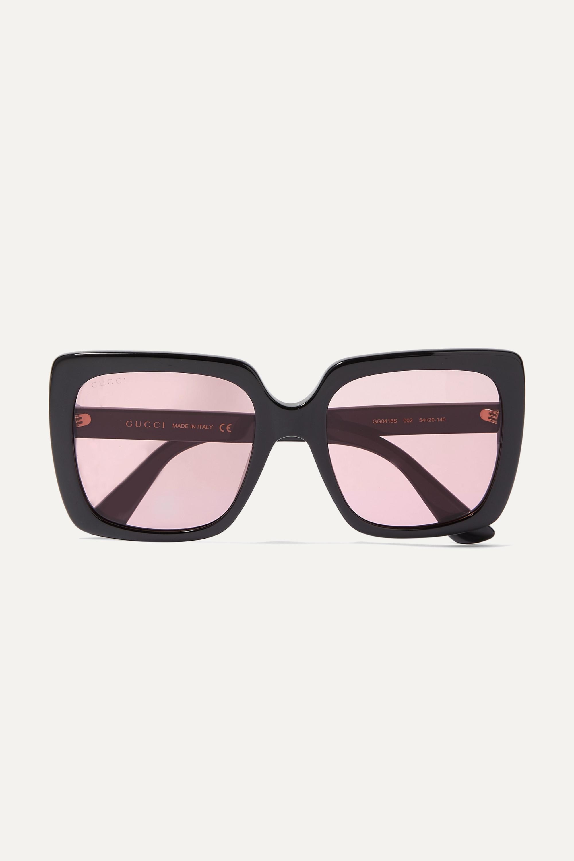 Gucci Oversized crystal-embellished square-frame acetate sunglasses