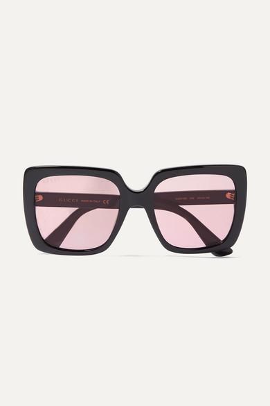 6dc57ab44f Gucci. Oversized crystal-embellished square-frame acetate sunglasses