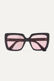 Oversized crystal-embellished square-frame acetate sunglasses