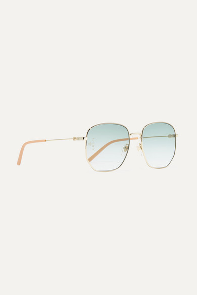 Gucci Sunglasses Hexagon-frame gold-tone and acetate sunglasses