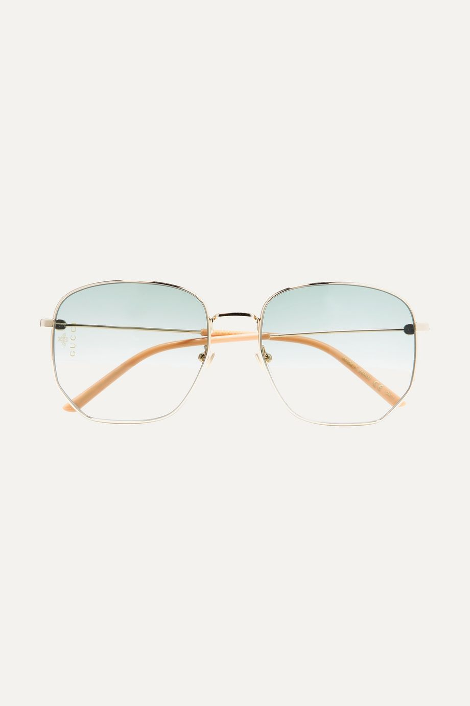 Gucci Hexagon-frame gold-tone and acetate sunglasses