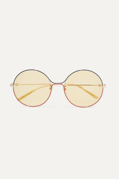 2f1f7bfbedbd7 Gucci. Oversized round-frame gold-tone sunglasses