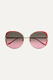 Gucci Oversized square-frame acetate and gold-tone sunglasses