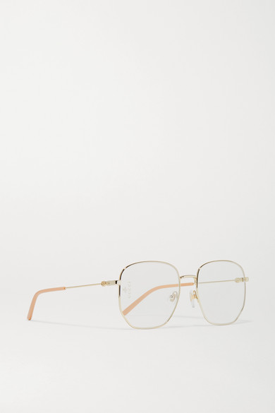 5ef2538ca2 Gucci. Hexagon-frame gold-tone and acetate optical glasses. £270. Zoom In