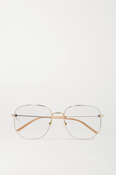 cb75fac7ee14 Gucci. Hexagon-frame gold-tone and acetate optical glasses