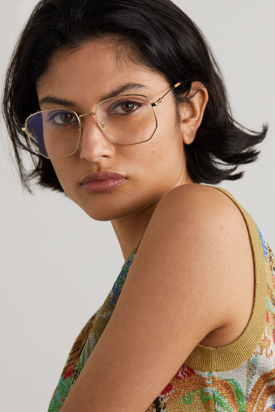 Gucci Hexagon-frame gold-tone and acetate optical glasses