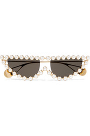 Gucci Cat-eye faux pearl-embellished gold-tone sunglasses