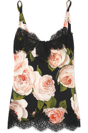 Lace-trimmed floral-print silk-blend camisole