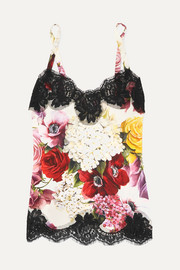 Dolce & Gabbana Lace-trimmed floral-print silk-blend camisole